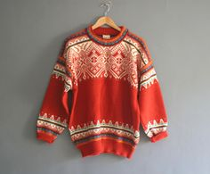 Vintage Nordic Ski Sweater Fair Isle Knit by VioletsAtticVintage, £55.00