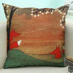 Cartoon Fox Animal Printed Linen Sofa Decorative Pillow Case 4.24 USD