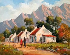South Africa Art, Cape Town South Africa, Building Painting, Painting Trees, Landscape Art, Landscape Paintings, Landscapes, Country Homes, African Art