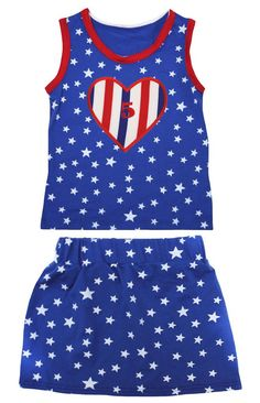 Petitebella 5th RWB Heart Patriotic Stars Red Cotton Shirt Blue Skirt Set 1-8y (1-2 Years). product includes: a shirt, a skirt. cotton shirt. lightweight skirt. adjustable waistband. outfit in 5th RWB Stripes Heart design.