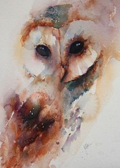 Owl Watercolor Painting, like no use of line