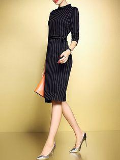 Black Work Zipper Stand Collar Stripes Sheath Midi Dress