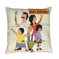 Bob's Burger Hero Family Everyday Pillow by Bob's Burgers - CafePress Bobs Burgers Gifts, Belcher Family, Tina Belcher, Painted Bags, Bob S, American Dad, Futurama, Custom T, Pillow Design