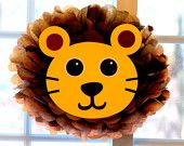 Lion pom pom kit king of the jungle safari noahs ark carnival circus baby shower first birthday party decoration