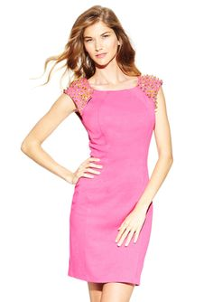 ARK & CO. Cap Sleeve Dress with Stud Detail SELECT COLOR - PINK