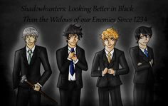 Jem Carstairs, Will Herondale, Jace Wayland and Alec Lightwood Can't get enough of Cassy's boys