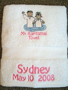 I LOooOVE this idea of making them a baptism towel!! I can't wait this is going to be such a special day.