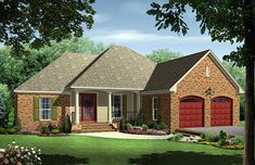 House Plan 59097 | European Traditional Plan with 1750 Sq. Ft., 4 Bedrooms, 3 Bathrooms, 2 Car Garage at family home plans