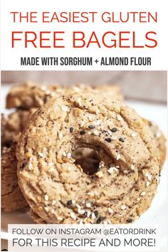 The easiest gluten free bagels you'll ever make. No kneading or rising needed. Just make them in your doughnut pan! Made with a combo of sorghum and almond flour.
