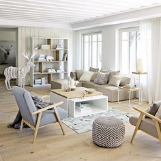 salon - bois - blanc - Maisons du monde / living - white - wood