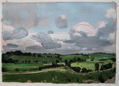 July 14 2:00 p.m. Original Landscape Painting on Paper by Paintbox