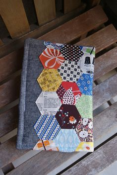 I am so excited about the project I& sharing with you today. This block of hexagons has stumped me for weeks, as I tried to decide what. Sewing Case, Sewing Kit, Round Robin, Fabric Book Covers, Fabric Books, Fabric Postcards, Small Sewing Projects, Textiles, Hexagon Pattern