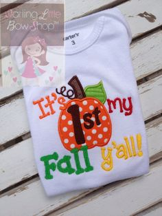 My 1st Fall y'all -- bodysuit for baby girls or boys -- cute polka dot pumpkin -- for a First Halloween and Pumpkin Patch visit on Etsy, $26.00