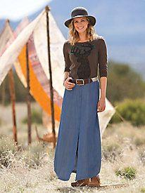 Women's Conversation Tee & Jean-Look Maxi Skirt