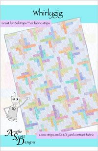 This is a fast and easy quilt that uses Hoffman Bali PopsTM, jelly rolls, or strips of cut fabric and 2-1/2 yards of a complementary fabric. This fun design uses a single quilt block, and looks great in a variety of colors. If you liked our popular Cotton Candy Dots pattern, you're going to love Whirlygig. http://www.kayewood.com/item/Whirlygig/1876 $8.50