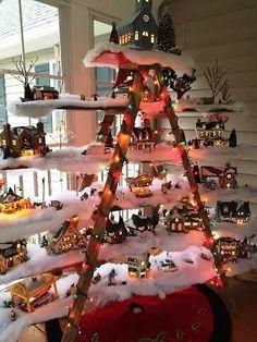 Christmas village decorating idea - ladder shelf