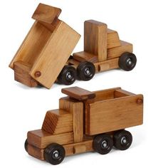 WORKING DUMP TRUCK Wooden Construction Toy Amish Handmade Wood Toys