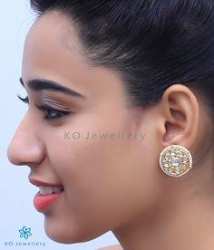 9287e42ba The Mehr Silver Kundan Ear-studs-Buy best kundan jewellery online - KO  Jewellery