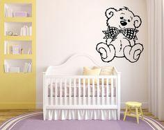 Parete in vinile adesivo decalcomanie murale camera Design Decor Pattern orso giocattolo Bow vivaio Teddy bambini mi419
