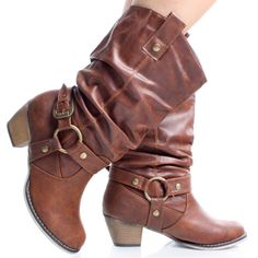 Tan Slouch Western Cowboy Women Stacked High Heel Mid Calf Boots