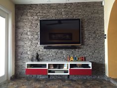 Accent wall ideas for your home interior or exterior design plans. Home design photos of manufactured stone in use on various accent wall designs. Accent Wall Bedroom, Accent Walls, Accent Wall Designs, Faux Panels, Barbershop Design, Stone Siding, Manufactured Stone, House Design Photos, Interior Walls