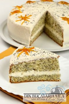 Poppy cake and cream cheese Poppy Seed Cake, Delicious Deserts, Hungarian Recipes, Cake Cookies, Just Desserts, Vanilla Cake, Sweet Tooth, Ale, Bakery