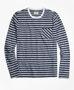 c5b043b7f The Red Fleece CollectionThis long-sleeve T-shirt has a lightweight  jersey-knit cotton construction in a horizontal sailor stripe pattern, ...