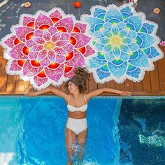 Red Blue Funny Lotus Girls Big Beach Towel Summer Holiday Sun Block Mandala Adults Towel High Quality Rayon Tassel Bath Towels