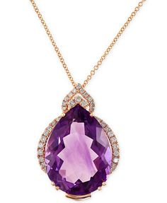Lavendar Rose by EFFY Amethyst (15-1/5 ct. t.w.) and Diamond (1/3 ct. t.w.) Pendant Necklace in 14k Rose Gold