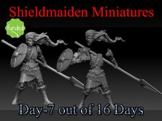 Shieldmaiden 28mm miniatures in hard plastic (HIPS) and polyurethane resin