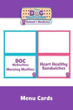 Doc McStuffins School of Medicine Menu Cards