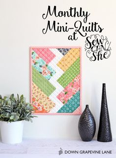 A Free Pattern: 'Bolt' Mini Quilt   Riley Blake Giveaway!