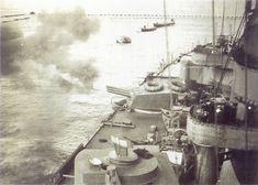 Prove di tiro di una delle torri trinate di dritta da 152/55 mod. 1936 della corazzata Vittorio Veneto.