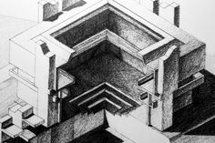 Old axonometry pencil drawing .