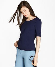 Elbow-Sleeve Ponte T-Shirt - BB AU Ecommerce