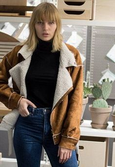 FAUX SUEDE SHEARLING JACKET - BROWN
