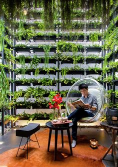 Vertical garden climbs over 7 meters in this astonishing townhouse designed in Bangkok by local design firm Apostrophy's. Green Architecture, Sustainable Architecture, Indoor Garden, Indoor Plants, Vertikal Garden, Landscape Design, Garden Design, Vertical Green Wall, Unique Garden