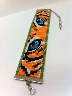 Tiger Bead Loom Bracelet by Beadalilmore on Etsy, $20.00: