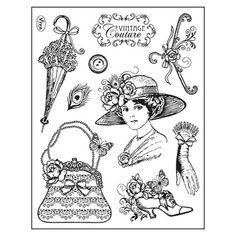 Tampon Dessin Femme Accessoire vintage shabby