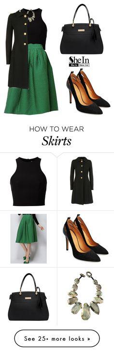 """SHEINSIDE Green Plaid Skirt"" by tania-alves on Polyvore featuring мода, T By Alexander Wang, Viktoria Hayman и Miu Miu"