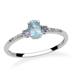 Sz 6 Genuine Paraiba Apatite Iolite Diamond Ring. Starting at $12 on Tophatter.com!