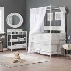 Have to have it. Bratt Decor Wrought Iron Indigo 2 in 1 Convertible Crib Collection - Distressed White $699.99