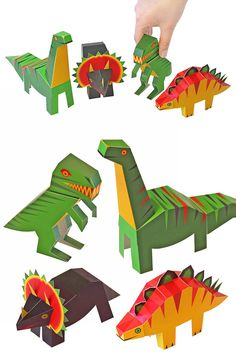 Dinosaurs Paper Toys - DIY Paper Craft Kit - 3D Paper Animals - 4 Dinosaurs