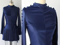 1970s Short Blue Skater Dress // Belted DropWaist by COCOVINTAGES