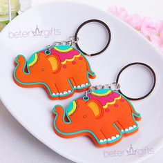 Baby Birthday Lucky Elephant Rubber Travel Tag Favor ZH032 #beterwedding