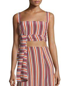 d4a673c5d3a Alexis+Frederick+Silk+Striped+Crop+Top+Multicolor+