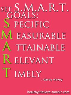 Make sure when you set your goals you do it the S.M.A.R.T way!