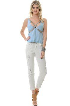 Blusa de Alça Jeans com Bordado na Alça - lojacaos