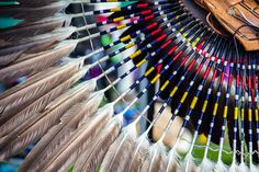 These colorful Pow-Wow feathers and beads during a Michigan Native American Pow wow White Eyes, Pow Wow, Summer Solstice, First Nations, Some Pictures, New Mexico, Recherche Google, Nativity, Quill