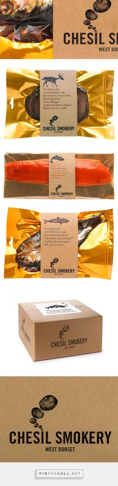 Chesil Smokery — The Dieline - Branding & Packaging by Big Fish curated by Packaging Diva PD. Like the voice/tone. Use of craft look on label. Also, reccos on accompaniments. also, product pops on gold background. Cool Packaging, Food Packaging Design, Brand Packaging, Fish And Seafood, Fish And Meat, Cat Food Brands, Food Branding, Cardboard Packaging, Fish Design